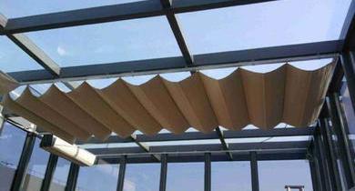 夏季冬季阳光房隔热保温就选电动天棚帘