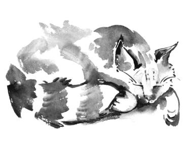 水墨画 猫 Ink-wash painting of cat