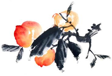 水墨画 桃子 Ink-wash painting of peach