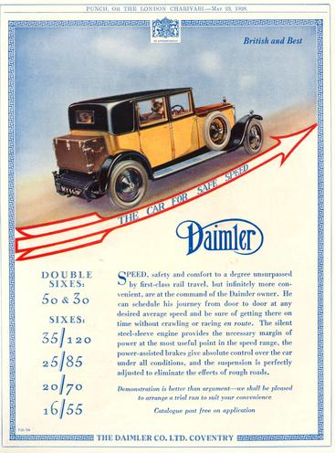 1920s UK Daimler Magazine Advert