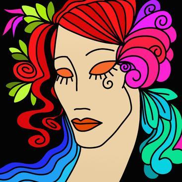 抽象设计与女人的脸 Abstract design with woman's face