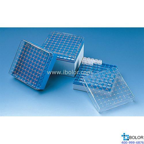 储存盒,PC材质,可以放置100个规格为1.2 ml或2 ml的细胞冻存管(内螺纹式)114866