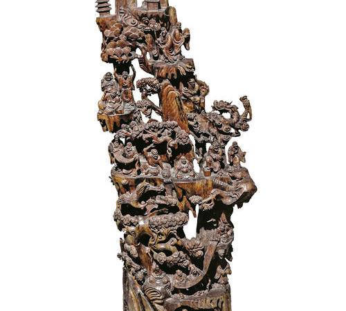 051  民国 龙眼木 《十八罗汉》木雕