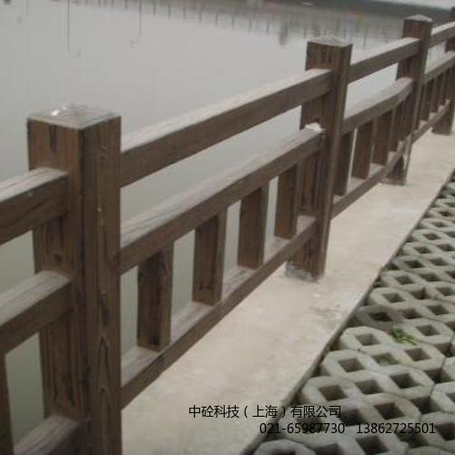 上海仿木护栏河道护栏预制混凝土仿木桩