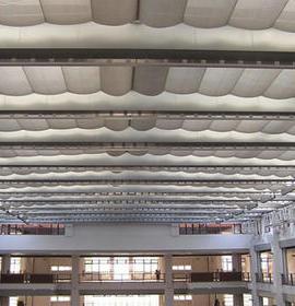 电动双轨折叠式天棚帘