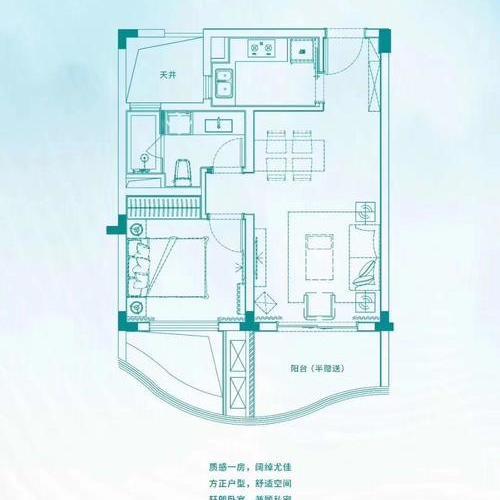 綠地太平湖-一室一廳一衛-60㎡