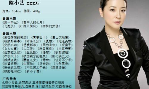 陈小艺经纪人,陈小艺平面肖像代言费多少钱?陈小艺代言18610757670