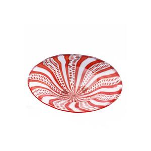 板花丝白色和红色-穆拉诺玻璃碟