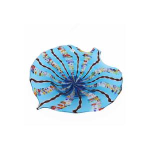 中心碗-叶子MILLEFIORI蓝色-MURANO玻璃碟