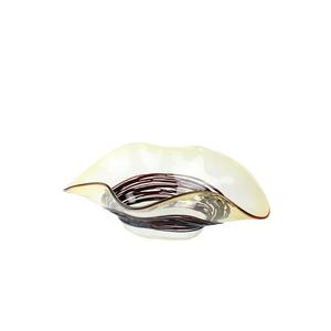 草帽装饰核心黑色和琥珀色碗-穆拉诺玻璃杯