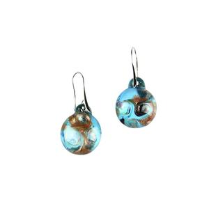耳环被淹没-青色-MURANO玻璃原味