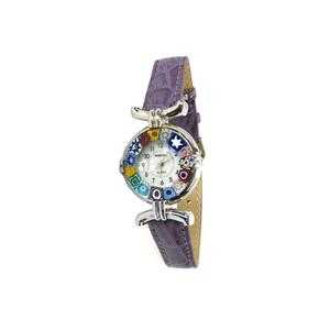 腕表MILLEFIORI-深紫罗兰色表带和镀铬表壳-原装MURANO玻璃