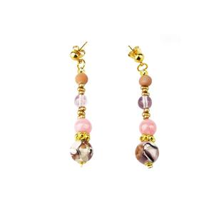 耳环-白色和粉红色-原装MURANO GLASS