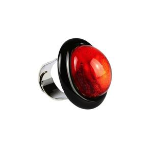 戒指-浸入式红色玻璃-原装MURANO玻璃