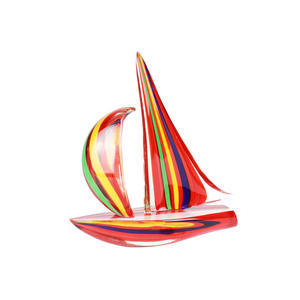 帆船混合红色戛纳电影节-雕塑-穆拉诺玻璃