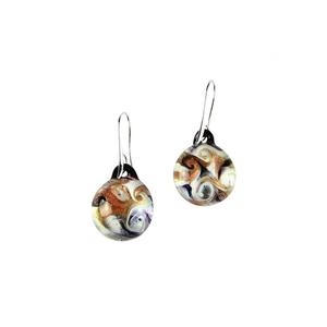 耳环被淹没-白色和AVVENTURINA-原装MURANO GLASS