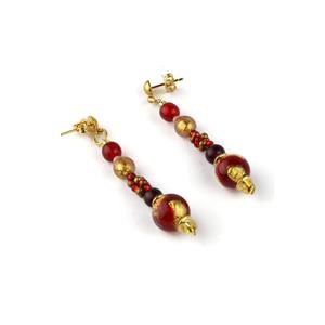 耳环塞西莉亚(CECILIA)长-红色-穆拉诺玻璃原味