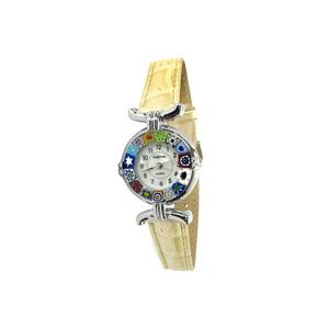 腕表MILLEFIORI-象牙表带和镀铬表壳-原装MURANO玻璃