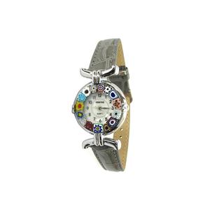 腕表MILLEFIORI-灰色表带和镀铬表壳-原装MURANO玻璃