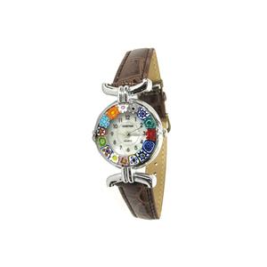 腕表MILLEFIORI-巧克力棕色表带金属镀铬表壳-MURANO玻璃