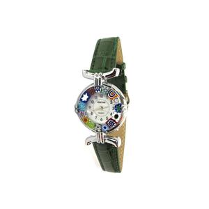 腕表MILLEFIORI-绿色表带和镀铬表壳-MURANO原装玻璃