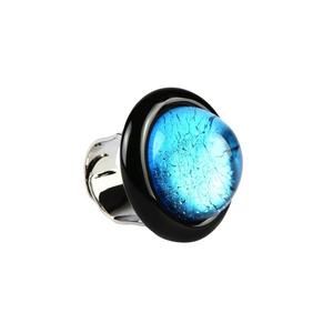 戒指-浸入式浅蓝色玻璃-原装MURANO玻璃