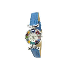 腕表MILLEFIORI-浅蓝色表带金属镀铬表壳-原装MURANO玻璃