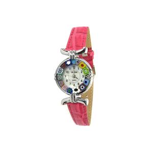 腕表MILLEFIORI-紫红色表带和镀铬表壳-原装MURANO玻璃
