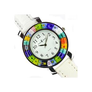 中性手表-白色和MILLEFIORI-原装MURANO GLASS