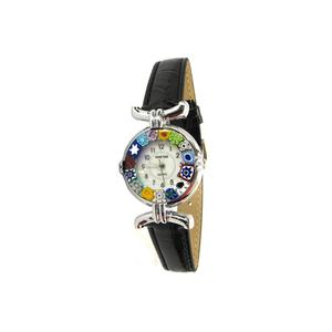 腕表MILLEFIORI-黑色表带金属镀铬表壳-原装MURANO玻璃