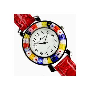 中性手表-红色和MILLEFIORI-原装MURANO GLASS
