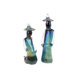 中国夫妇-玉髓雕塑-穆拉诺原始玻璃