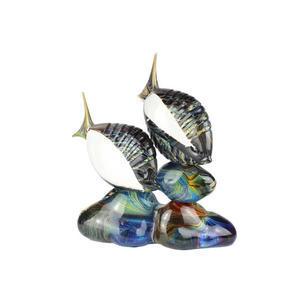 在深渊岩石中钓鱼-玉髓雕塑-ORIGNAL MURANO GLASS