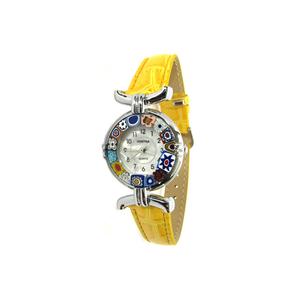 腕表MILLEFIORI-黄色表带和镀铬表壳-原装MURANO玻璃