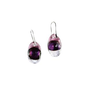 三色熔融玻璃耳环-紫色-MURANO GLASS原味