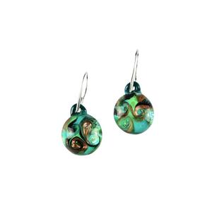 耳环被淹没-绿色-MURANO玻璃原味