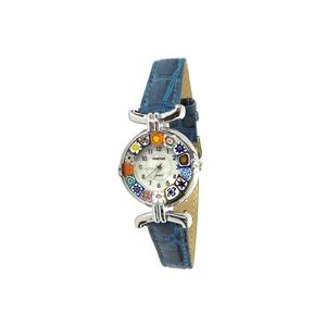 腕表MILLEFIORI-蓝色表带金属镀铬表壳-原装MURANO玻璃