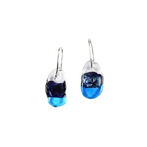 耳环-蓝绿色三色熔融玻璃-原装MURANO GLASS