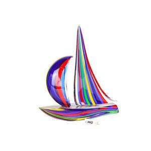 帆船混合彩色戛纳电影节蓝色-雕塑-穆拉诺玻璃