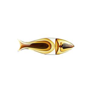 鱼抽象雕塑-琥珀色-原始穆拉诺玻璃