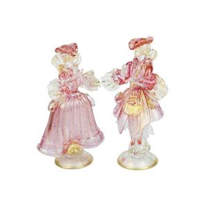 一对GOLDONI雕塑粉红色-威尼斯小雕像女士和骑士金24KT