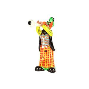 带有小号音乐播放器的小丑小雕像ORIGINAL MURANO GLASS