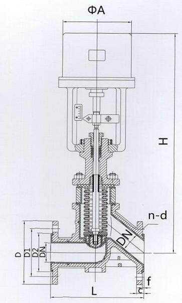 电动波纹管调节阀结构图