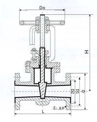 衬氟闸阀结构图