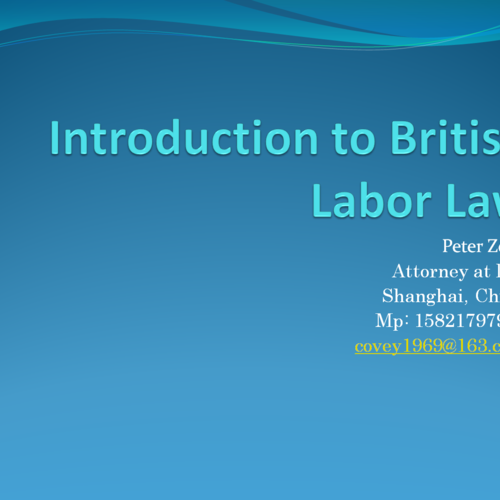 Introduction to British Labour Law
