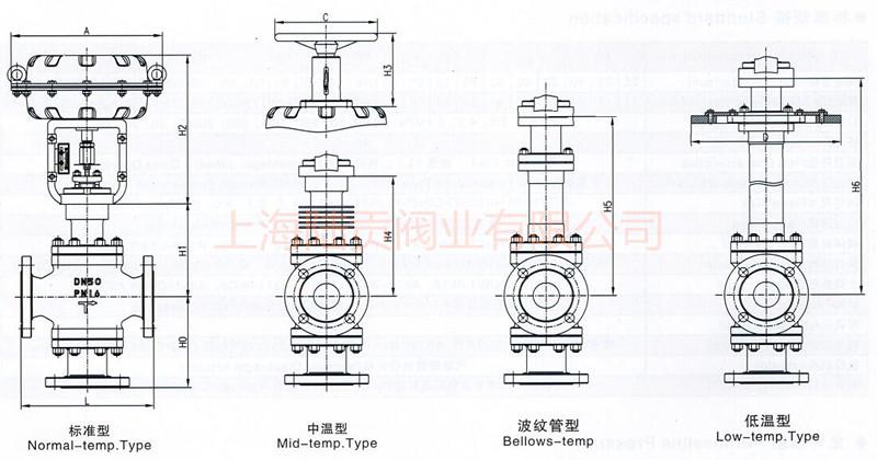 气动三通调节阀结构图
