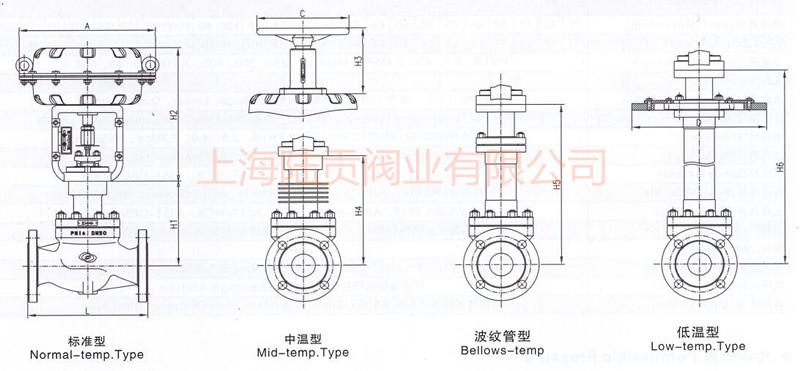 气动单座调节阀结构图