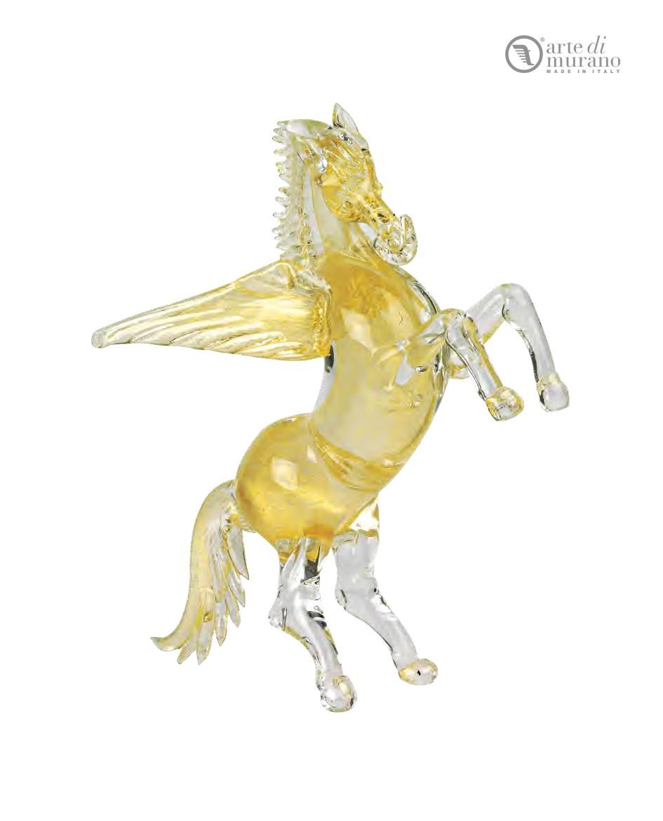 天然穆拉诺玻璃原色金飞马翅马雕塑