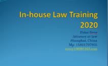 In-house Law Training 2020  企业法律内训系列