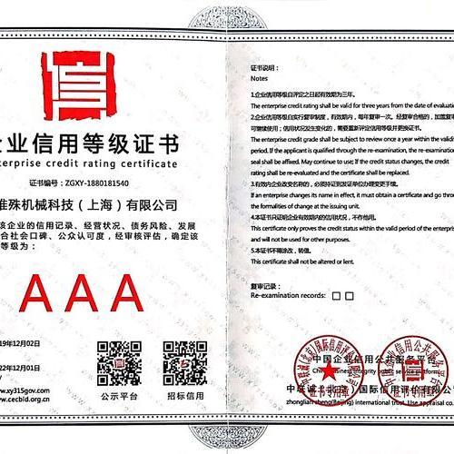 AAA Enterprise credit rating certificate